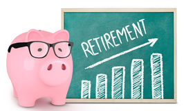 Piggy bank and retirement graphic Royalty Free Stock Photo