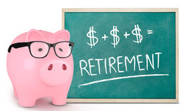 Piggy bank and retirement message Stock Photo
