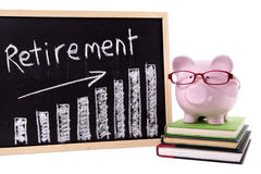 Pension planning, Piggy Bank wearing glasses with retirement savings growth chart isolated on white background Stock Images
