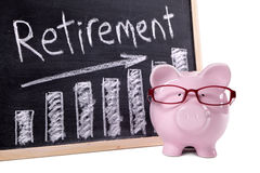 Piggy Bank with retirement savings chart Stock Photography