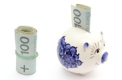 Piggy bank and roll of banknotes on white background Royalty Free Stock Photography