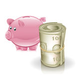 Piggy bank and roll of money Stock Photos
