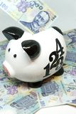Piggy bank and romanian currency lei ron savings for pension retirement concept Stock Photography