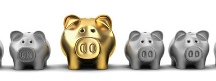 Piggy bank row Royalty Free Stock Photo