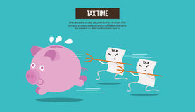 Piggy bank run away from Tax bills catching. Royalty Free Stock Photography