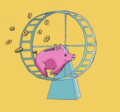 Piggy bank running on a Hamster wheel Stock Image