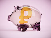 Piggy bank with russian rouble sign inside 3d illustration Royalty Free Stock Image