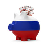 Piggy Bank with Russian Ruble Stock Photography