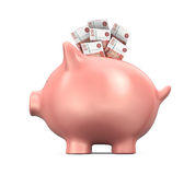 Piggy Bank with Russian Ruble Royalty Free Stock Photos