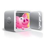 Piggy bank in a safe Stock Image
