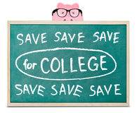 Piggy bank and save for college message Royalty Free Stock Photography