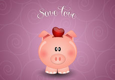 Piggy bank for save love Stock Images