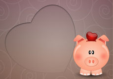 Piggy bank for save love Stock Photography