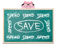 Piggy bank and save message Royalty Free Stock Photo