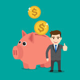 Piggy bank. Save money with a piggy bank. Illustration in vectors Royalty Free Stock Images