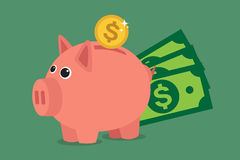 Piggy bank. Save money with a piggy bank. Illustration in vectors Royalty Free Stock Photography