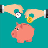 Piggy bank. Save time and money with a piggy bank. Illustration in vectors Stock Photos