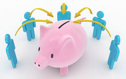 Piggy bank and save up partnership concept Stock Photo