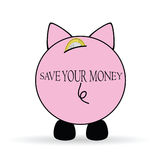 Piggy bank save your money illustration Stock Images
