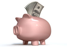 Piggy Bank Saving American Dollars Stock Photo