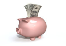 Piggy Bank Saving American Dollars Stock Images