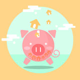 Piggy bank saving concept for mortgage loan Stock Images