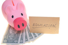 Piggy bank saving for education Royalty Free Stock Photo