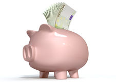 Piggy Bank Saving European Euros Stock Image