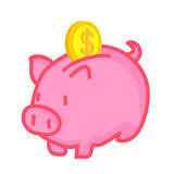 Piggy Bank saving isolated illustration Royalty Free Stock Images