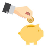 Piggy bank saving money concept vector design. Royalty Free Stock Photography
