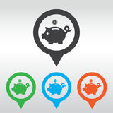 Piggy bank - saving money. icom map pin.  Stock Photos