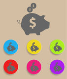 Piggy bank - saving money icon with color. Variations, vector Royalty Free Stock Photos