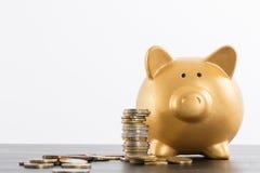 Piggy bank saving Royalty Free Stock Images