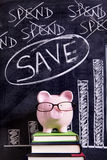 Saving plan - Piggy Bank with savings chart Royalty Free Stock Image