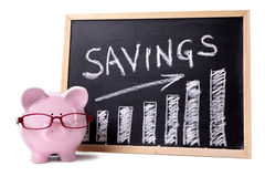 Piggy Bank with savings chart Royalty Free Stock Photography