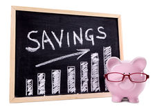 Piggy Bank with savings growth chart, saving money growth concept Royalty Free Stock Images