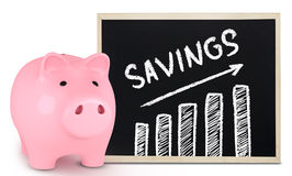 Piggy bank and savings chart Stock Photography