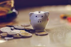 Piggy Bank, Savings, Currency. Coin. a little pig. A little pig, a piggy bank, different coins, European money. Savings deposit, savings for the future Royalty Free Stock Image