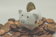 Piggy Bank, Savings, Currency. Coin. a little pig. A little pig, a piggy bank, different coins, European money. Savings deposit, savings for the future Royalty Free Stock Photography