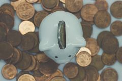 Piggy Bank, Savings, Currency. Coin. a little pig. A little pig, a piggy bank, different coins, European money. Savings deposit, savings for the future Royalty Free Stock Photos