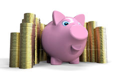Piggy bank with savings. 3D render image of a piggy bank with a stack of money Royalty Free Stock Photography