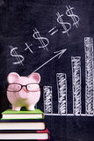 Piggybank savings plan investment growth pension fund formula. Pink piggy bank with glasses standing on books next to a blackboard with simple money math.  Sharp Stock Photos