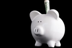 Piggy bank savings isolated. One dollar in a piggy bank isolated against black Stock Photos