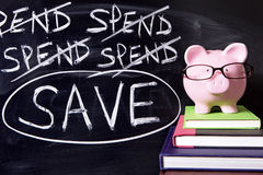 Piggybank with savings plan Stock Images