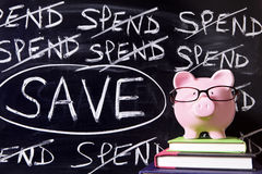 Piggy Bank with savings message Stock Image