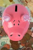 Piggy bank savings - top view Royalty Free Stock Photo