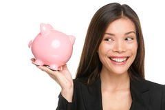 Piggy bank savings woman smiling happy Stock Image