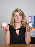 Piggy bank savings woman smiling happy Royalty Free Stock Photo