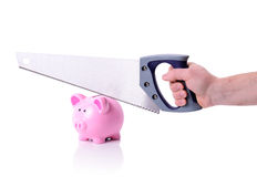 Piggy bank saw Royalty Free Stock Images