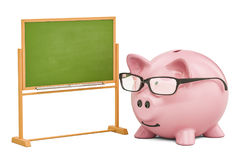 Piggy bank school blackboard, 3D rendering Royalty Free Stock Photo